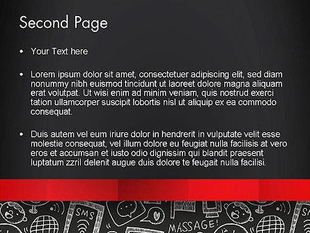 Internet Related Doodles on Chalkboard PowerPoint Template Slide 2