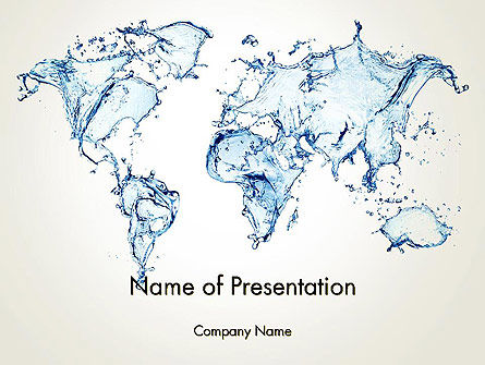 Blue Water Splash World Map Powerpoint Template Backgrounds 13051