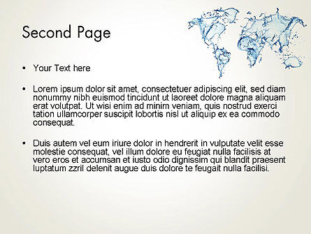 Blue Water Splash World Map PowerPoint Template Slide 2