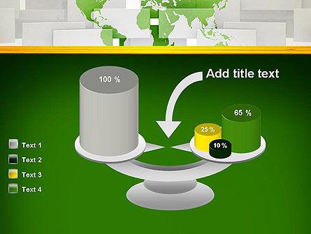 Green World Map on Gray Blocks PowerPoint Template Slide 10