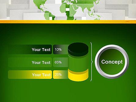 Green World Map on Gray Blocks PowerPoint Template Slide 11
