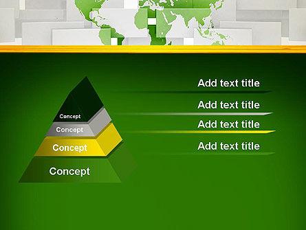 Green World Map on Gray Blocks PowerPoint Template Slide 12