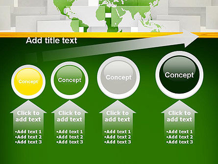 Green World Map on Gray Blocks PowerPoint Template Slide 13