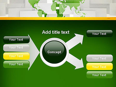 Green World Map on Gray Blocks PowerPoint Template Slide 14