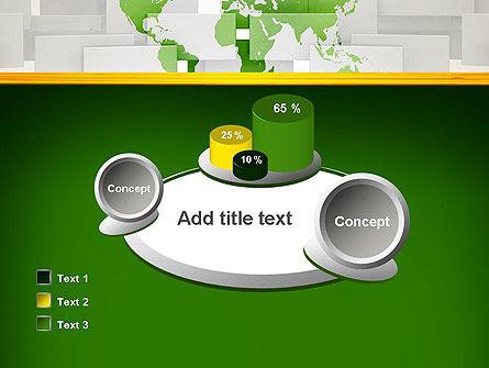 Green World Map on Gray Blocks PowerPoint Template Slide 16