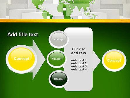 Green World Map on Gray Blocks PowerPoint Template Slide 17