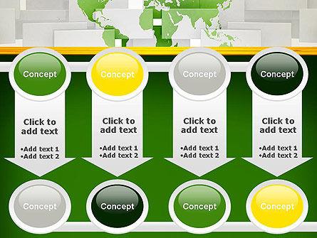 Green World Map on Gray Blocks PowerPoint Template Slide 18