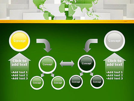 Green World Map on Gray Blocks PowerPoint Template Slide 19