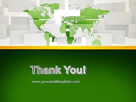 Green World Map on Gray Blocks PowerPoint Template Slide 20