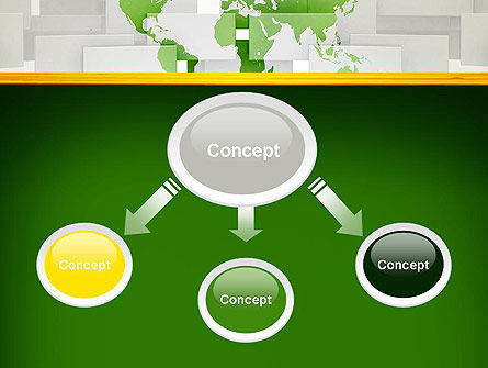 Green World Map on Gray Blocks PowerPoint Template, Slide 4, 13062, Global — PoweredTemplate.com