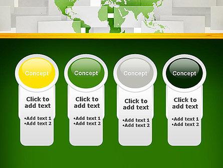 Green World Map on Gray Blocks PowerPoint Template Slide 5