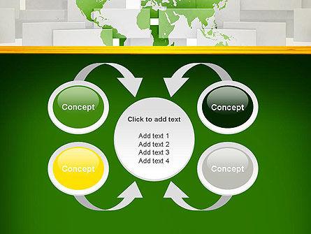 Green World Map on Gray Blocks PowerPoint Template Slide 6