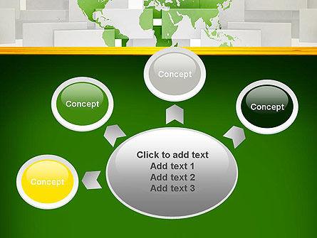 Green World Map on Gray Blocks PowerPoint Template Slide 7