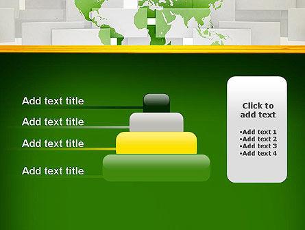 Green World Map on Gray Blocks PowerPoint Template Slide 8