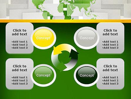 Green World Map on Gray Blocks PowerPoint Template Slide 9