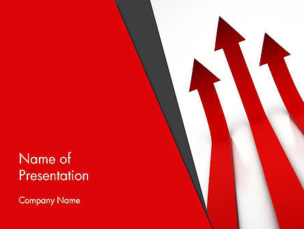 Red Arrows Moving Up PowerPoint Template