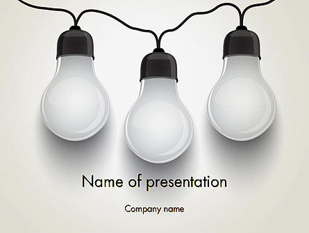 Three White Lamps in Garland PowerPoint Template