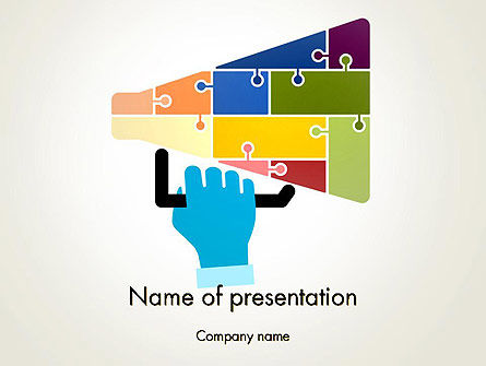 Megaphone Puzzle PowerPoint Template, 13073, Careers/Industry — PoweredTemplate.com