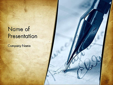Art & Entertainment: Ancient Letter and Ink Pen PowerPoint Template #13091