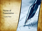 Ancient Letter and Ink Pen PowerPoint Template#1