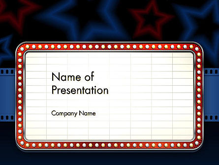 Art & Entertainment: Star Neon Movie Sign PowerPoint Template #13123