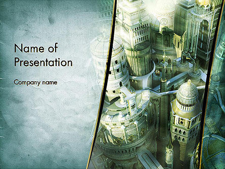 Mystical City PowerPoint Template, 13131, Construction — PoweredTemplate.com