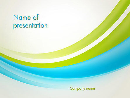Bright Green and Blue Waves PowerPoint Template