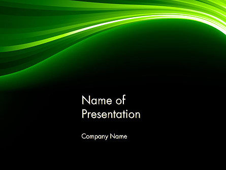Green Waves on Black PowerPoint Template