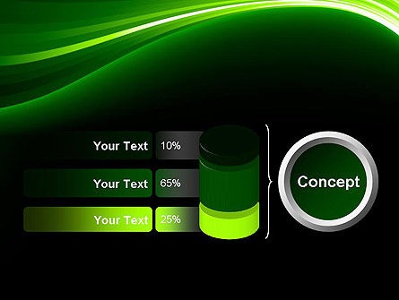 Green Waves on Black PowerPoint Template Slide 11