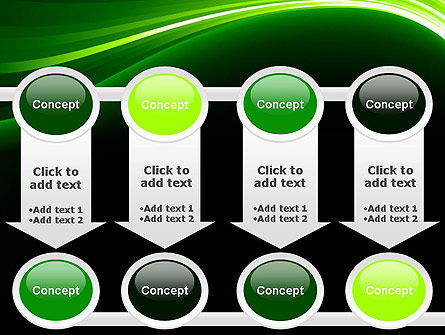 Green Waves on Black PowerPoint Template Slide 18