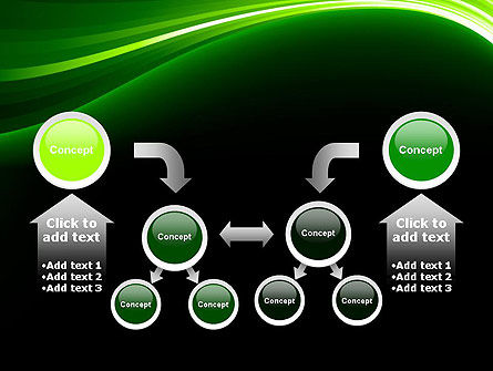 Green Waves on Black PowerPoint Template Slide 19