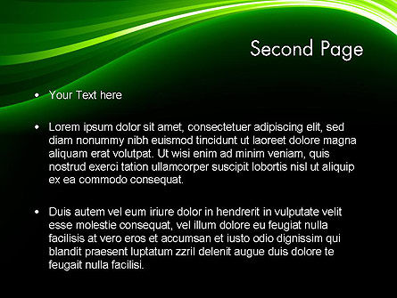 Green Waves on Black PowerPoint Template Slide 2