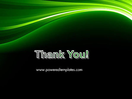 Green Waves on Black PowerPoint Template Slide 20