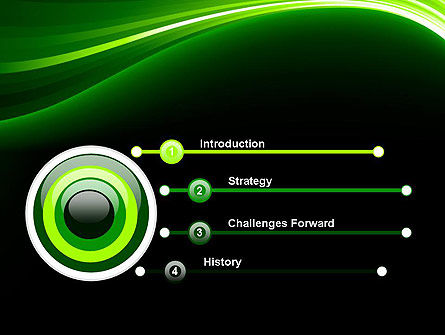 Green Waves on Black PowerPoint Template Slide 3