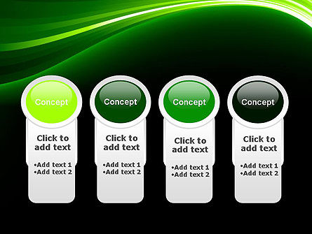 Green Waves on Black PowerPoint Template Slide 5