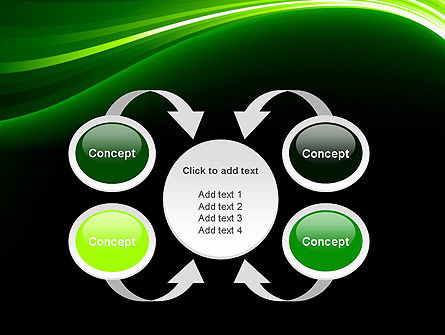 Green Waves on Black PowerPoint Template Slide 6