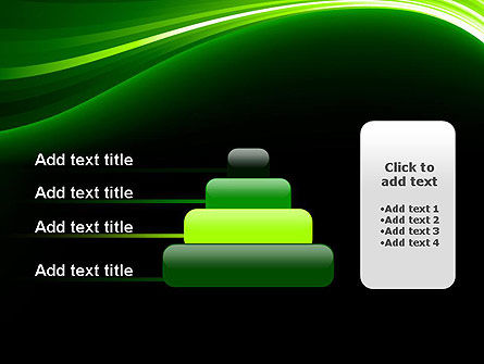Green Waves on Black PowerPoint Template Slide 8