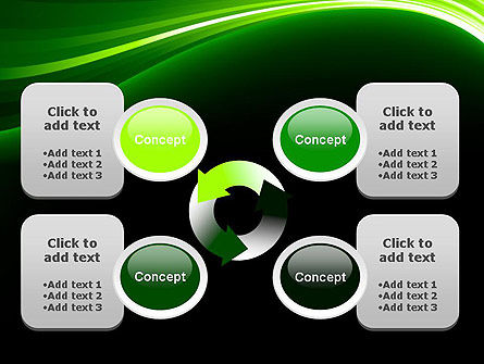 Green Waves on Black PowerPoint Template Slide 9