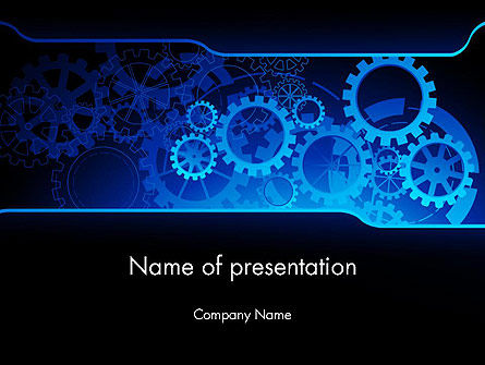 Abstract Blue Clockwork PowerPoint Template