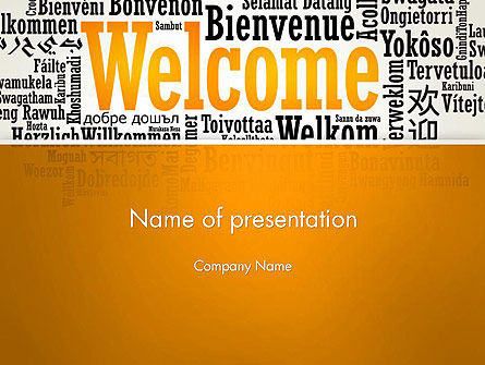 Welcome Word Cloud in Different Languages PowerPoint Template