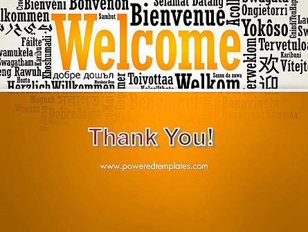 Welcome Word Cloud in Different Languages PowerPoint Template Slide 20