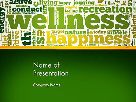 Health and Recreation: Wellness Word Cloud PowerPoint Template #13179
