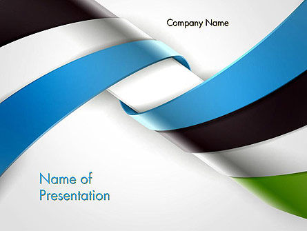 3D: Twisted Striped Layers Abstract PowerPoint Template #13196