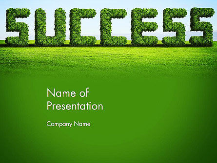 Green Grass Word Success PowerPoint Template