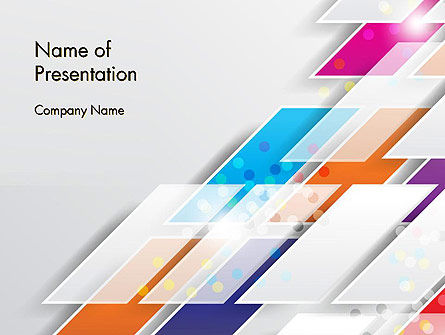 Overlapping Colorful Squares Abstract PowerPoint Template, 13205, Abstract/Textures — PoweredTemplate.com