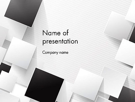 Abstract/Textures: Overlapping Black and White Squares PowerPoint Template #13211