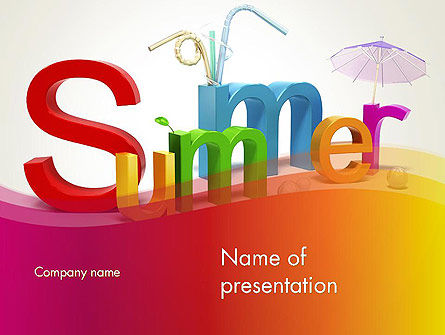D Summer Party Powerpoint Template Backgrounds