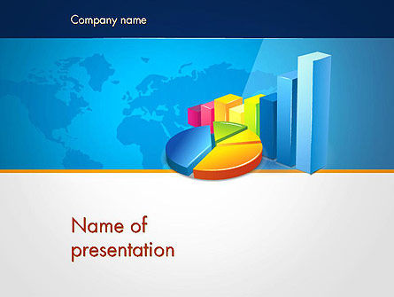 Business: Bar and Pie Charts on Word Map PowerPoint Template #13224