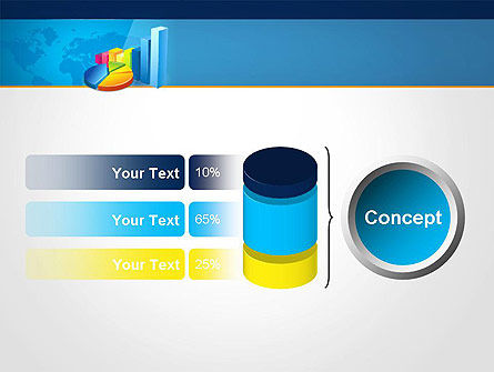 Bar and Pie Charts on Word Map PowerPoint Template Slide 11