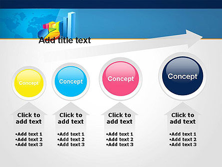 Bar and Pie Charts on Word Map PowerPoint Template Slide 13